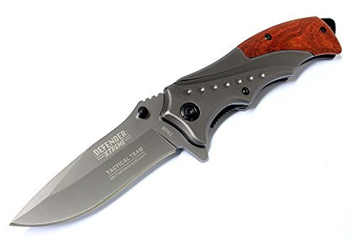 8'' Defender Extreme Grey Folding Spring Assisted Knife with Belt Clip by Last Punch