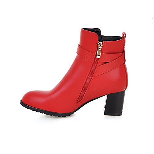AllhqFashion Womens Soft Material Closed Round Toe Solid Low-Top Kitten-Heels Boots Red fqj7kcoPs