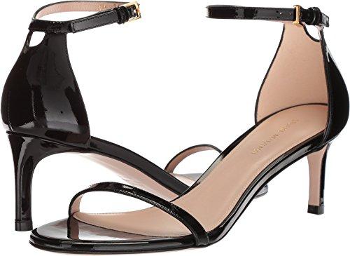 Stuart Weitzman Women's 45NUDIST Heeled Sandal, Noir Gloss, 9 Medium - Open Weitzman Toe Stuart Heels