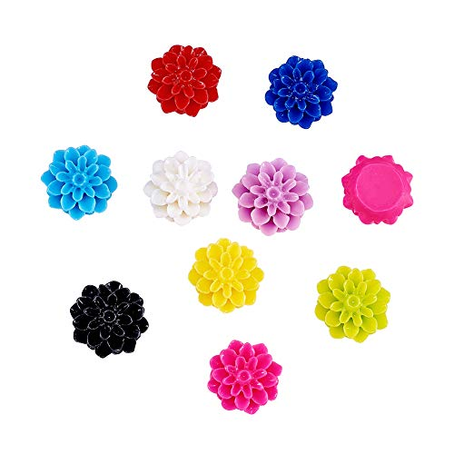 Craftdady 20Pcs Random Mixed Colors Flat Back Opaque Resin Flower Cabochons 15x8mm DIY Scrapbooking Embellishments Craft Jewelry Making Findings ()