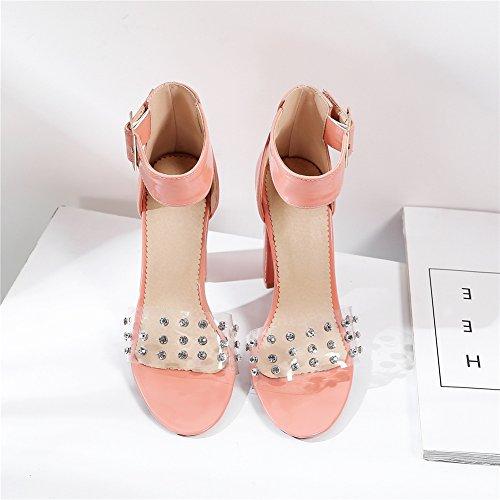 Noces Cheville Femme Peep Transparent Chaussures Rivet Pink PVC pour Sandales Taille Mesdames Soirée 35 Femmes Talon Bloc Toe Fête 45 Haut NVXIE Rose nxPwYqzZ8U