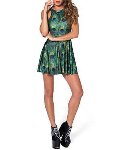 Stampato Da Senza Costumi moda Maniche Yw Spiaggia clc1012 Bagliore Mini Moda verde Bagno Abito cWtqtrY