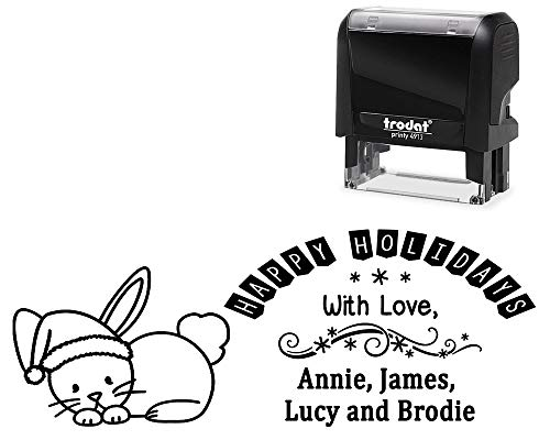 (Custom and Personalized Self-Inking Christmas Holiday Stamp- Bunny Rabbit with Santa Hat Image- Change Your Wording, Family with Love, or Address American Made. Variety of Designs and Ink Colors)