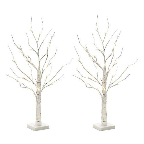 Vanthylit 2FT 24LT Pre-lit White Birch Tree Decorative Light Tabletop-2PK (Artificial Branches Birch)