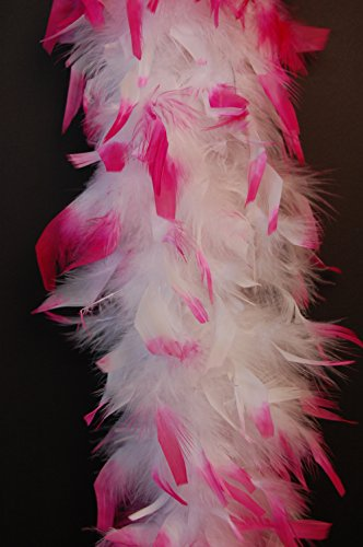 - Feather Boas 80 Gram Chandelle 2 Yards - WHITE w/HOT PINK Tips
