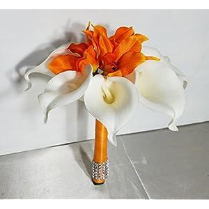 Orange Orchid Calla Lily Orchid Bridal Wedding Bouquet & Boutonniere 11