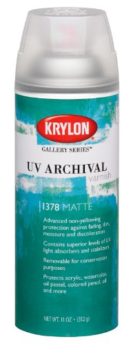 Krylon K01378000 Gallery Series UV Archival Varnish Aerosol Spray, Matte, 11 Ounce