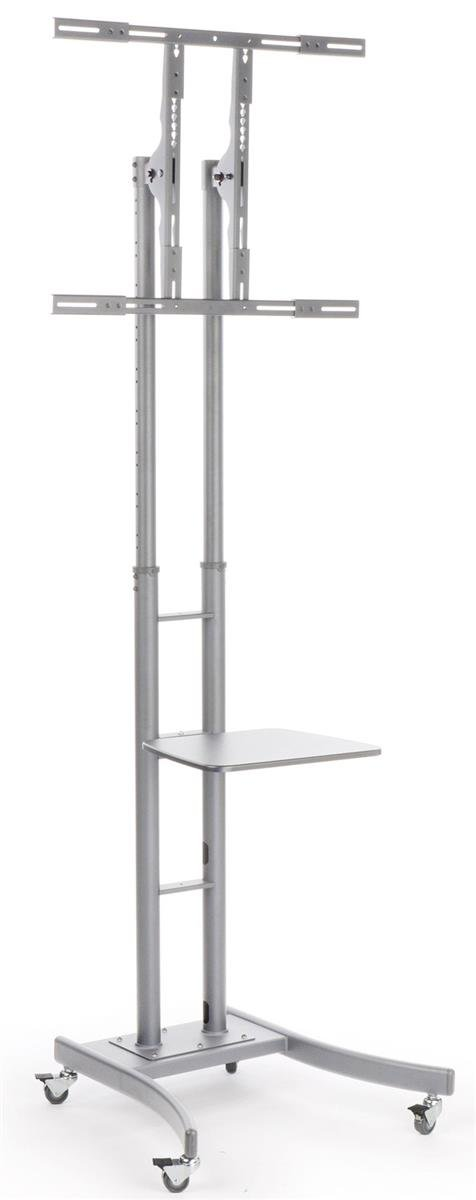 Displays2go MB863ESLV Portable TV Stand with Wheels for LCD Plasma LED TVs Between 32 65 , Steel