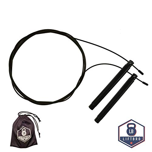 LiftBro 100% Aluminum Jump Rope - Ideal Speed Rope for Double Unders, Cardio & Fitness (Free Carrying Bag, Free Replacement Jump Rope Cable) - Black