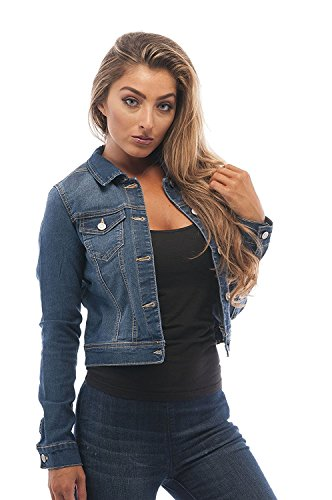 Hollywood Star Fashion Womens Basic Button Down Denim Jean Jacket (Small, MediumBlue)