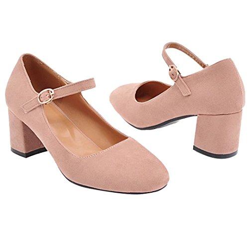 Chaussures Cheville Bride AIYOUMEI Rond Talons Bloc Boucle Confortable Escarpins Femmes Bout Rose Hauts Velours Yqfq5