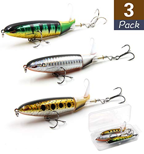 QJKYKD Fishing Lures Whopper Plopper 4.0 inch/0.5 oz with Rotating Spins Tail, Topwater Bait Freshwater Saltwater Lures with Barb Treble Hooks Suitable for Musky, Bass, etc. (3 PCS)