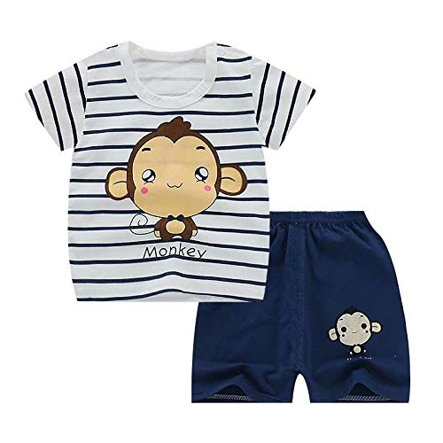 (Jobakids Little Boys' Short Set Summer Clothing Sets Cotton Shirts Short Sleeve Tee n Pants(Airplane,4T))