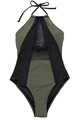 Joy&Bella Solid Color Deep V Neck One Piece Swimsuit Bikini Set Bathing Suit Beach Swimwear Monokini