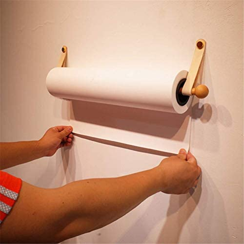 INS Mode Kiefernschaftdorn Wandmontage Roller Drawing Paper Wiederverwendbarer Spender, 1 Halter, 1 Rollenpapier, 1 Vegetarisch Gegerbter Horizontaler Fixierstreifen,KraftPaper