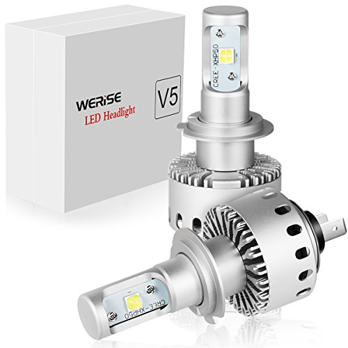WERISE V5 H7 LED Headlight Bulbs All-in-one Conversion Kit with CREE XHP50 Chips - 50w 6,000Lm 6500K Cool White - 2 Yr Warranty