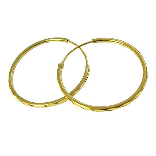22K Gold plated Sterling Silver Hoops - Lovely Vermeil Textured Round Hoops - Hoop Earrings,Large Hoops, Earwire Hoops, 30mm ( 2 pcs - 1 pair ) 22k Gold Vermeil Hoop