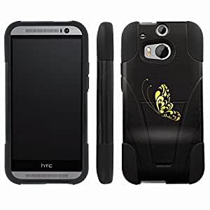 [ArmorXtreme] Hybrid Armor View-Stand Design Image Protect Case (Butterfly Yellow) for HTC One M8