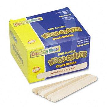 Chenille Kraft Natural Wood Craft Sticks, Jumbo Size, 6 x 3/4, Wood, Natural Wood, 500/Box CKC377601