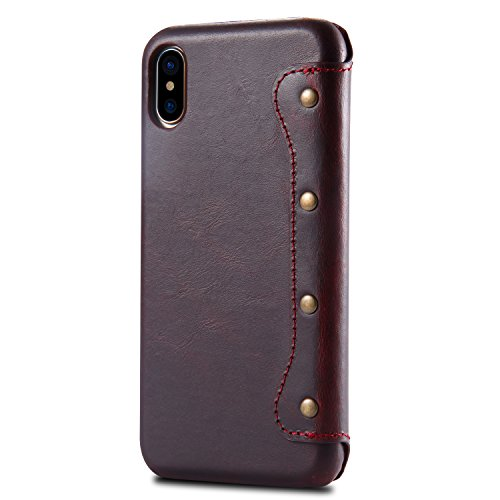 iPhone X Case, Reginn Waxed Leather Wallet Case with [Card Slot] [Cash Pocket] and [Stand Function] [Wireless Charging Compatible] Folio Cover for 5.8 Inch Apple iPhone X (Wine Red) by Reginn (Image #2)