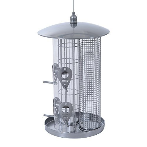 Hanging Bird Feeder 3 Section For Different Seed Type Outdoor Food Container With Ebook