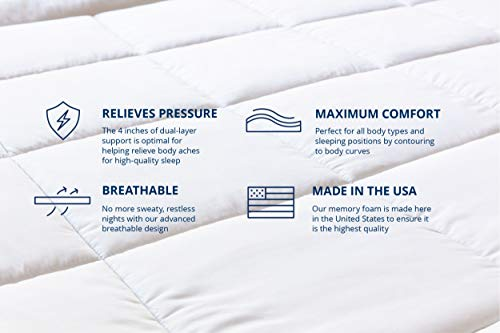 ViscoSoft 4 Inch Pillow Top Gel Memory Foam Mattress Topper | Queen Mattress Pad | Made in USA - CertiPUR-US | Luxury Dual Layer with Quilted, Down-Alternative Cover