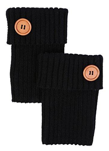 M-243-06 Rib Knit Boot Cuff w Wood Button - Black
