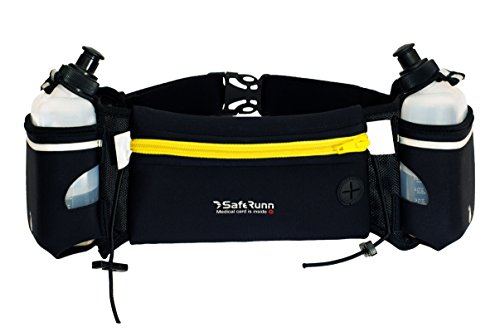 Hydration Running Belt for Runners – Adjustable Belt with Water Bottle (10oz bottles, BPA-free)- No Slip, Bounce, or Rub - Fits iPhone 7 Plus - Samsung Galaxy Note - Medical ID Card