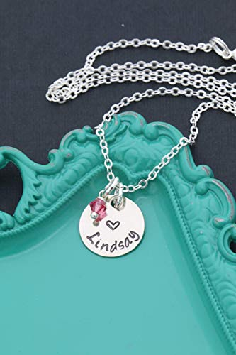 Personalized Little Girls Heart Necklace – DII ABC - Valentines Day Gift – Handstamped Handmade Jewelry – 5/8 Inch 15MM Silver Disc – Choose Birthstone Color–Customize Name–Fast 1 Day Shipping