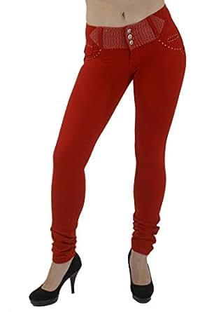 U-Turn Style 313 - Brazilian style butt lifting, Levanta cola, Knit poly cotton fashion Moleton, skinny leg in Red