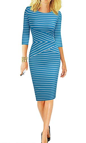 REPHYLLIS Women 3/4 Sleeve Striped Wear to Work Business Cocktail Pencil Dress XXL Peacock Blue (Dress Detail Pencil)