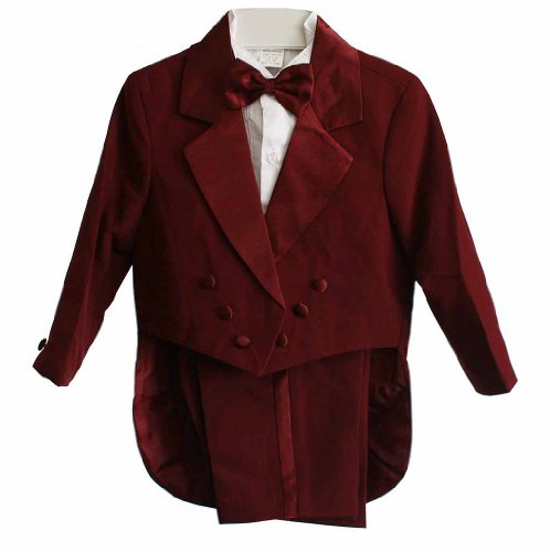 Burgundy Baby Boy & Boys Tuxedo Suit Set, Tailcoat, Pants, Shirt, Bowtie & Cummerbund
