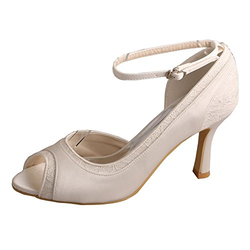 Strap Lace Size Shoes Open Wedding MW396 Bridal 4 Ankle D'orsay Heel Ivory Wedopus High Satin Ivory and Toe f4qRWw0
