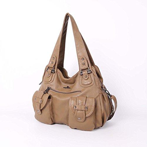 Angelkiss 2 cremalleras superiores bolsillos múltiples bolsos de las mujeres / bolsos de cuero lavados / bolsas de hombro XS160738 (Azul) Beige