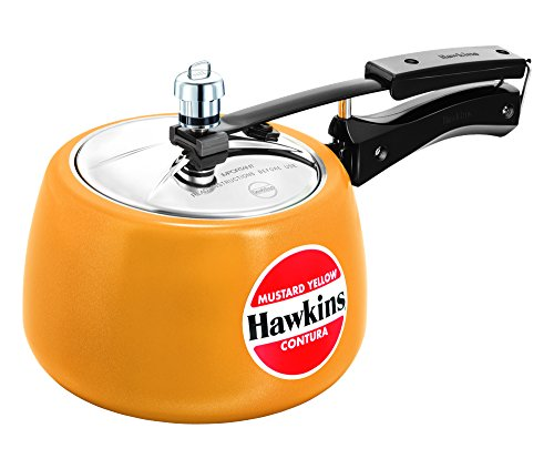 Hawkins Ceramic Coated Contura Pressure Cooker, 3 L, Mustard Yellow