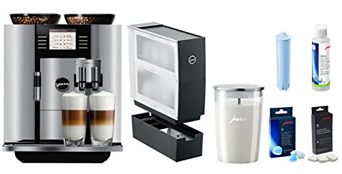 Jura GIGA 5 Coffee & Beverage Center With Additional Cup Warmer, Glass Milk Container, Clearyl Water Care Cartridge, Descaling Tablets, Milk system Cleaner, and 2 Phase Cleaning Tablets