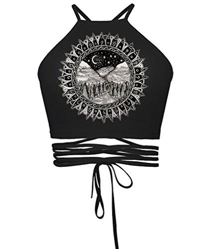 irls Juniors Halterneck Sexy Vest Crop Top(Black Landscape) (Juniors Sweater Vest)