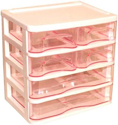 Büro Kunststoff Desktop Aufbewahrungsbox Schubladen Organizer, Rosa 01
