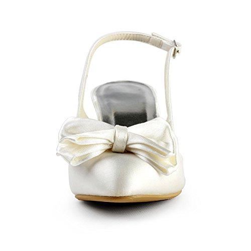 JIA JIA A31B37 Damen Brautschuhe Geschlossene Zehe Hoher Absatz Satin Sandalen Bowknot Hochzeitsschuhe Beige