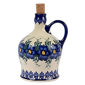 Traditional Polish Pottery, Handcrafted Ceramic Olive Oil or Vinegar Bottle with Handle (1000ml), Boleslawiec Style Pattern, V.601.Pansy