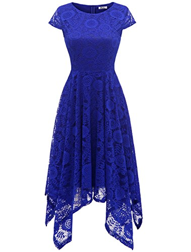 (AONOUR AR8009 Women's Floral Lace Cap Sleeve Handkerchief Hem Cocktail Party Swing Dress RoyalBlue)