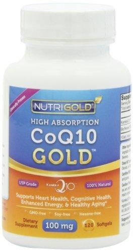 Nutrigold CoQ10 Gold (Haute Absorption) (cliniquement prouvée KanekaQ10), 100 mg, 120 gélules