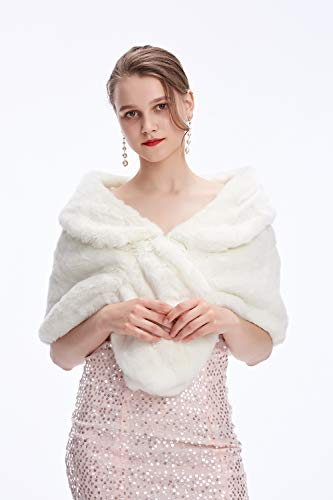 Decahome Women's Faux Fur Shawl Wrap Cape for Bridal Wedding Party White Artificial wool ()