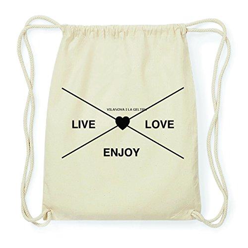 JOllify VILANOVA I LA GELTRU Hipster Turnbeutel Tasche Rucksack aus Baumwolle - Farbe: natur Design: Hipster Kreuz