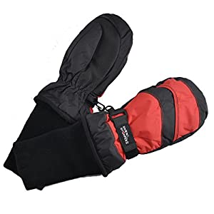 SnowStoppers Kid's Waterproof Stay On Winter Nylon Mittens Small / 1-3 Years Black/Red