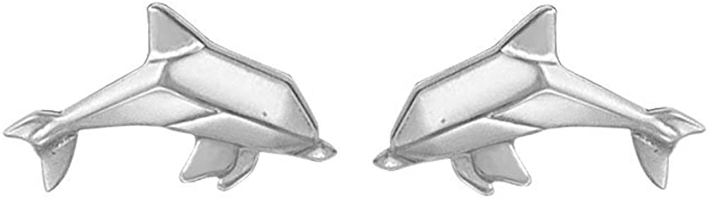 Boma Jewelry Sterling Silver Origami Dolphin Stud Earrings