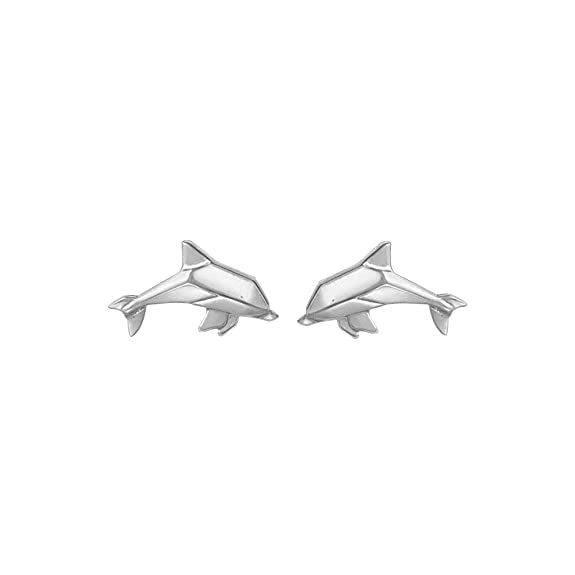 Boma Jewelry Sterling Silver Origami Dolphin Stud Earrings by Boma