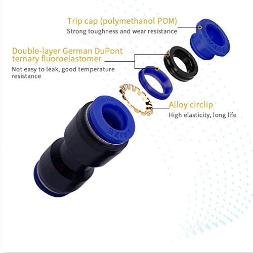 1pc Pneumatic Fittings PG 4mm 6mm 8mm 10mm 12mm Air Water Hose Tube One Touch Straight Push-in Plastic Quick Connector Tube Fitting no logo WSF-Adapters Size : PG12 8