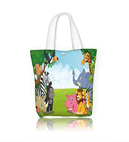 Womens Collection Edge Mobile (Women's Canvas Tote Bag Coon collection animal in the jungle work school Shoulder Bag W17.7xH14xD7 INCH)