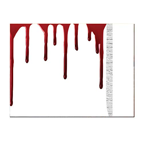 Canvas painting-16Lx12W-Bloody Flowing Blood Horror Spooky Halloween Zombie Crime Scary Help me Themed Illustration ed White.Self-Adhesive backplane/Detachable Modern Decorative Art. -